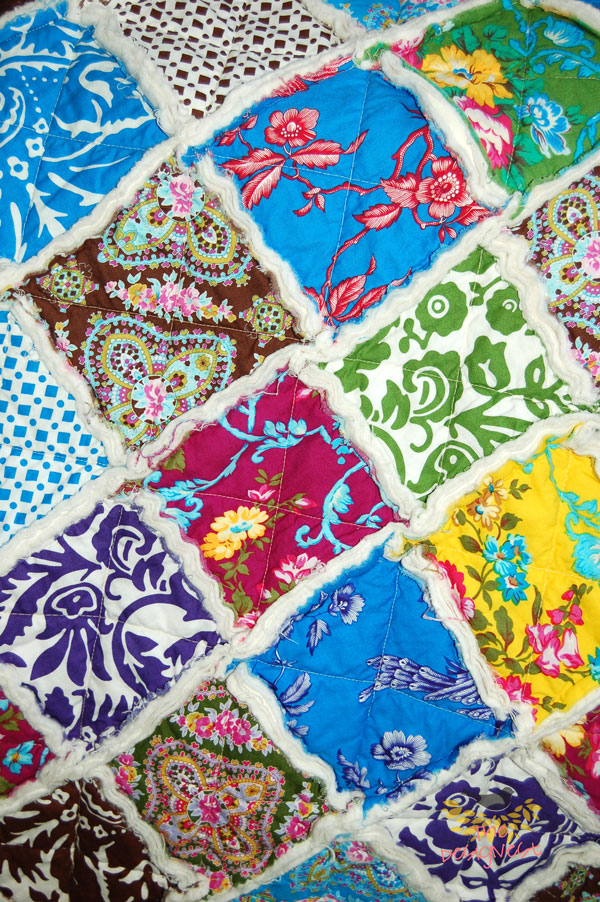 Rag Quilt with a Charm Pack TheDesignest.com #ragquilt #charmpack