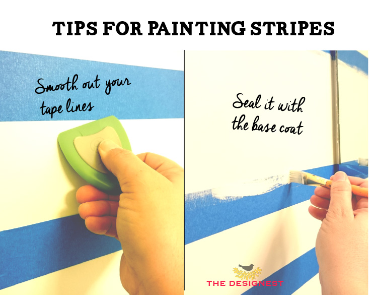 STOP the paint bleed when you paint stripes! This shows you exactly how to get a perfect line when you paint stripes on a wall. #diy #paint