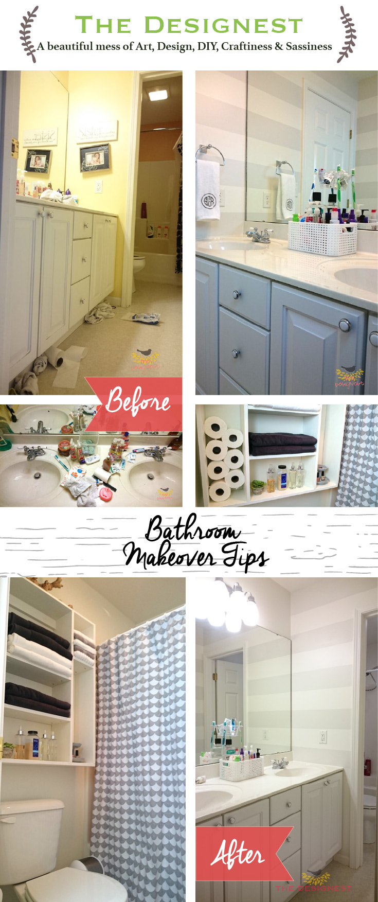 Bathroom Makeover | Tips to make a small bathroom feel bigger.