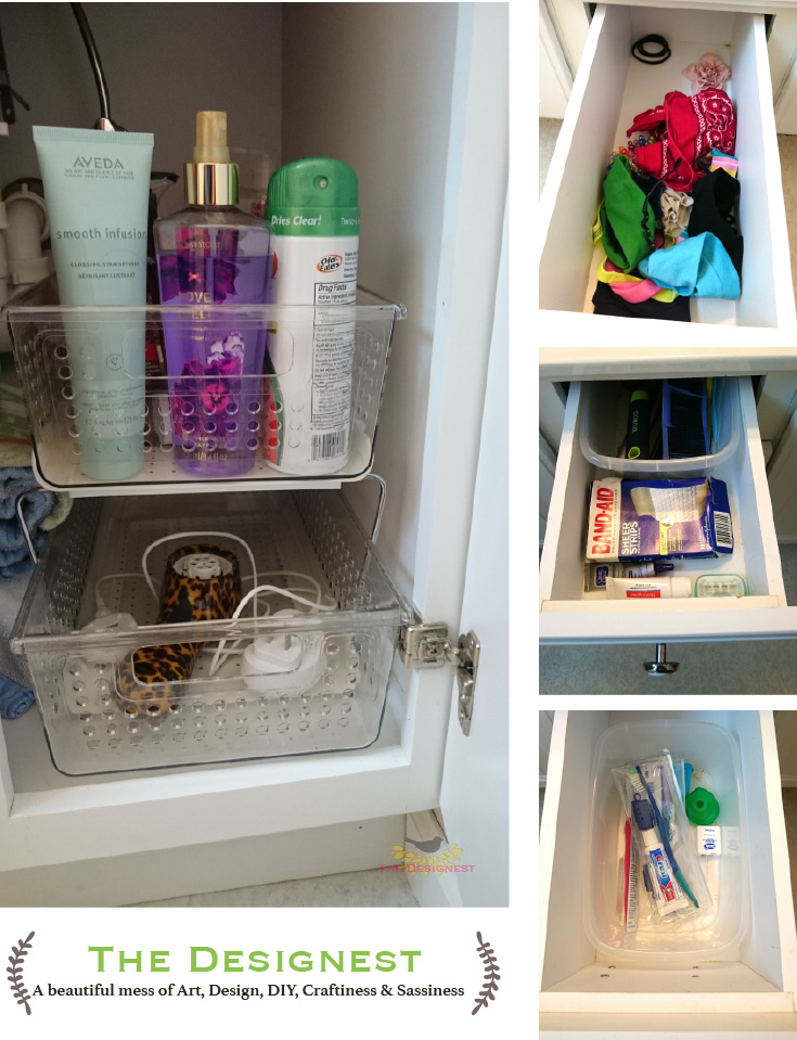 Bathroom Organization | I love these stackable under cabinet organizers that help my kids keep their things from begin buried under piles of stuff.