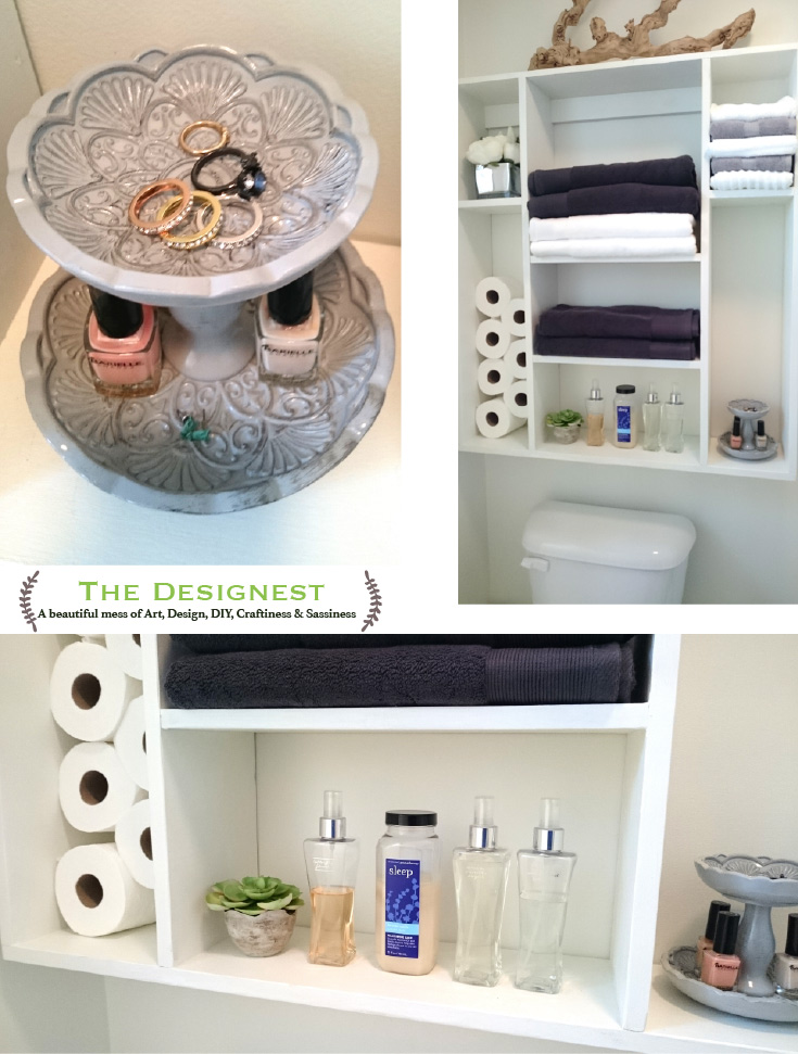 DIY Bathroom Shelf | We made this DIY over the toilet bathroom shelf to create more storage space and make the small shower area look and feel bigger. Click thru for the plans