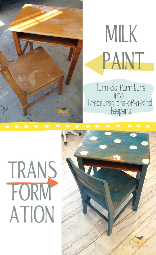 A little milk paint took this old school desk from a beaten up eyesore to an adorable polka dot desk ready for any childs room or homeschool desk! See the transformation on The Designest blog.
