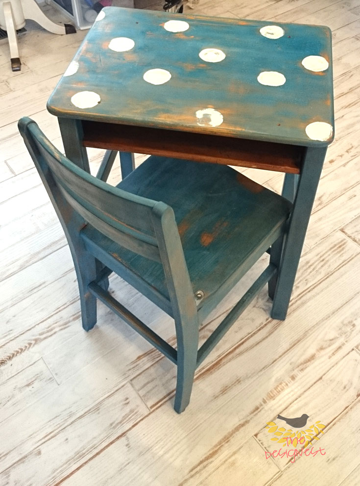 The vintage blue polka dot desk. Took an old school desk and made it into an adorable desk that will be used for many more decades.