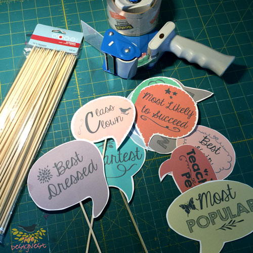 Super simple photo booth props for a Graduation Party. Just print the free download, cut & tape them to some wooden sticks (I used bamboo skewers from the dollar store)