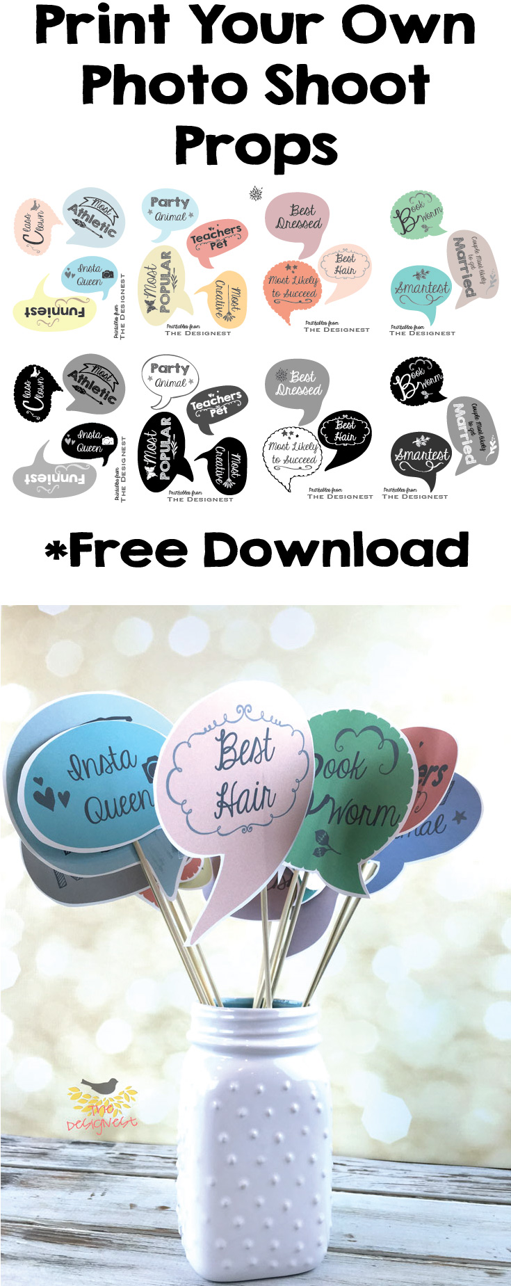 Printable Photo Booth Props for a Graduation Party ~ Free Download~ Print, cut & tape