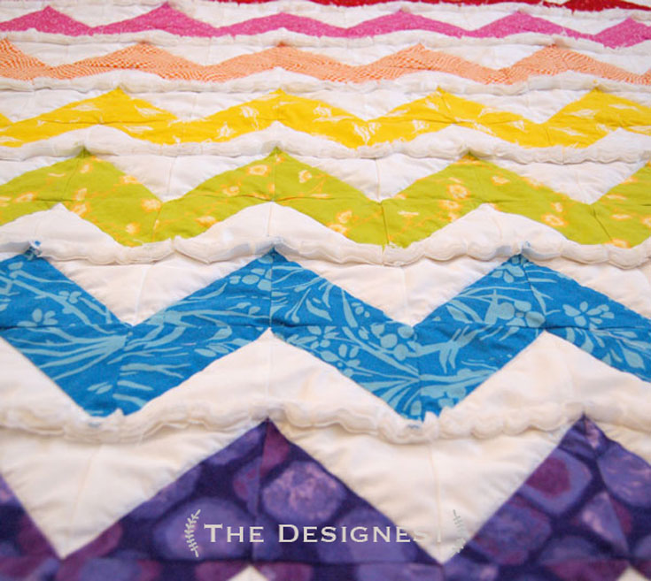 Rag Quilt pattern - Rainbow chevron rag quilt using half square triangles