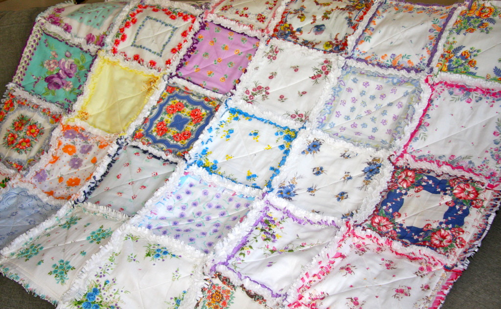 Can you say I LOVE VINTAGE HANKIES? Really beautiful job from Zeedlebeez easy shop on showcasing these beauties in a rag quilt!