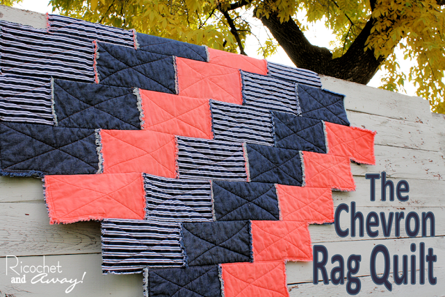 From Ricochet and Away ... Another way to make a chevron rag quilt. A part of the round up post on rag quilt ideas on TheDesignest.com.