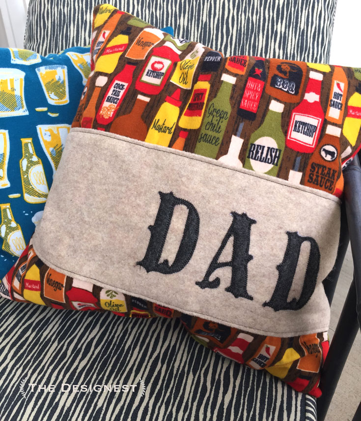 You can make this gift for dad with just a sewing machine! This tutorial will walk you through the steps to sew on letters & make this pillow.
